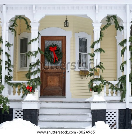 house entrance decorated for holidays