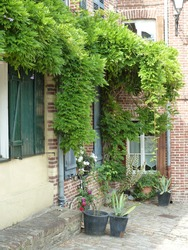 House exterior of a beautiful house in saint-valery-sur-somme. Picardie. North of France.