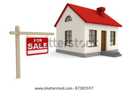 House for sale. 3d rendered image