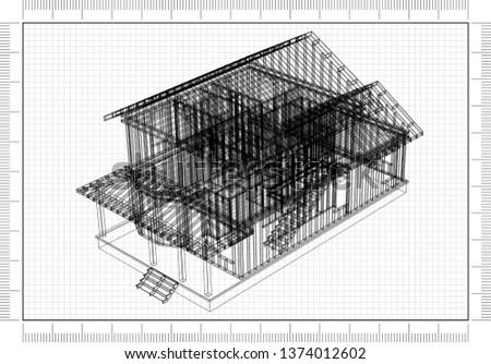 House Framework Architect Blueprint - 3D Rendering
