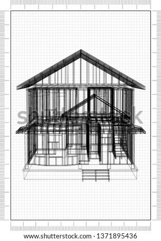 House Framework Architect Blueprint - 3D Renderings