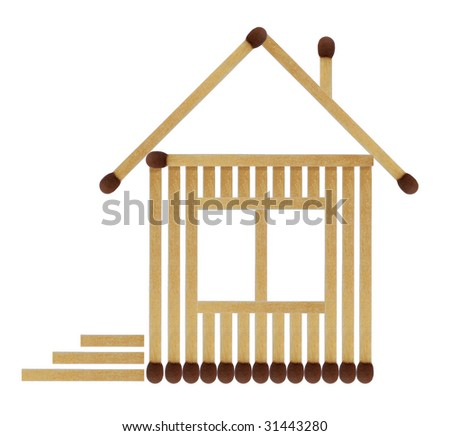 House from matches - stock photo
