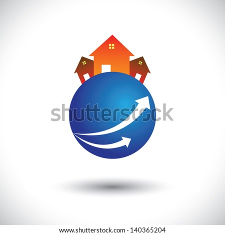 House(home) or residence icon on a planet. This graphic illustration is also a icon for buying & selling property, residential accommodations, rental services, etc