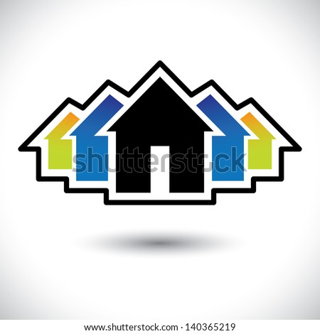House(home) & residence sign for real estate. This graphic  illustration is also a icon for buying & selling property, residential accommodations, offices, etc