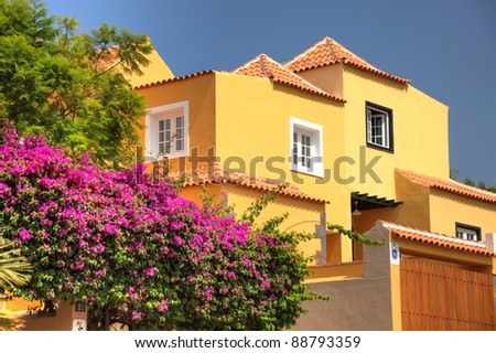 House home villa spanish Spain Tenerife exterior property luxury expensive beautiful modern architecture design style Europe european flowers garden Mediterranean tropical Africa african residential
