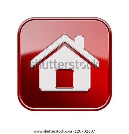 House icon glossy red, isolated on white background