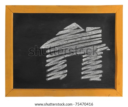 house icon hand-drawn over the blackboard with white space for your text - stock photo