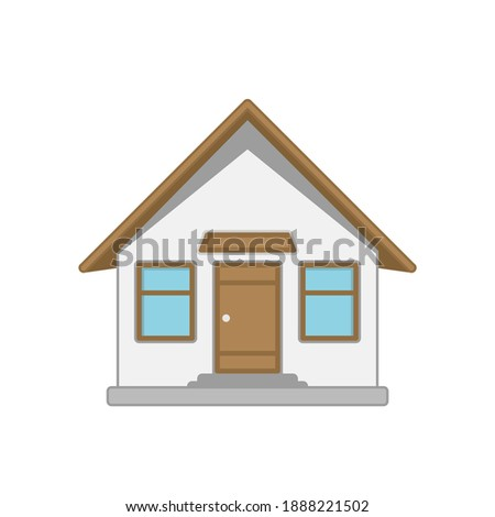 House icon. Home, Real estate illustration. Building in flat style isolated on white background. Townhouse building. Home fa ade with door and windows.  Photo stock ©