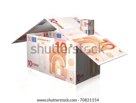 house illustration with euro notes