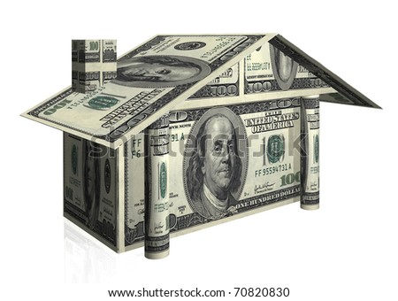 house illustration with notes of dollars
