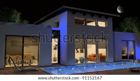 House in a night scene
