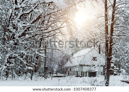 House in a snowy forest in winter #1007408377