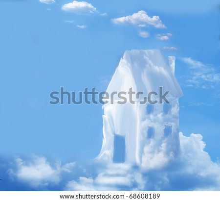house in clouds