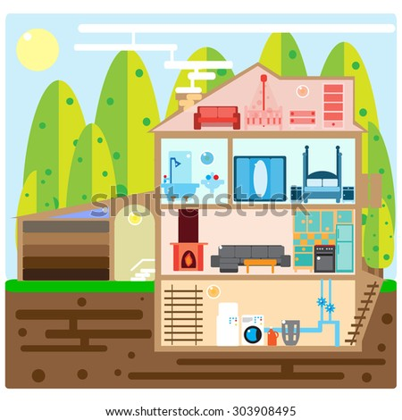 House in Cut. Modern House Interior. Rooms with Furniture. Flat Illustration.