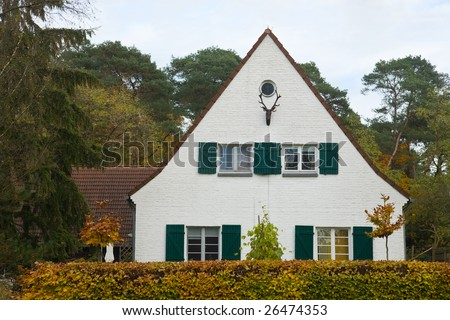 House in Germany with a deer trophy on the wall