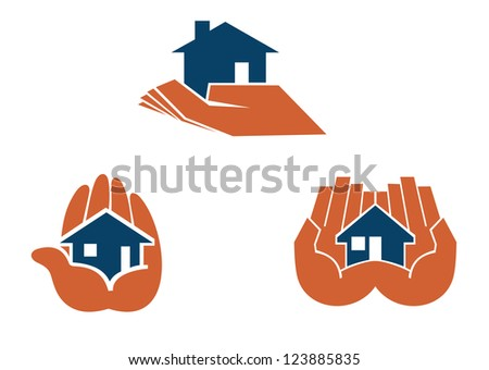 House in hands symbols and pictograms for real estate business design, such as idea of logo. Vector version also available in gallery