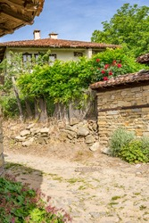 House in Jeravna, village in Bulgaria, Europe.The village is an architectural reserve of national importance with wooden houses from the Bulgarian National Revival period (18th and 19th century)