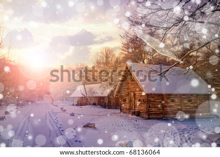 house in snow fairy forest