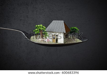 house in spoon real estate business concept photo