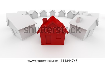 House in the circle - Isolated on White Background