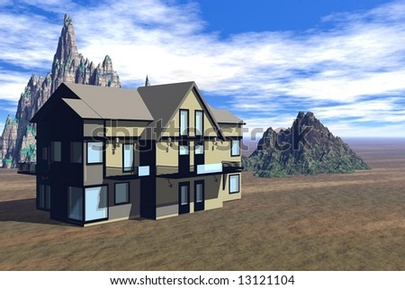 house in the desert with mountains on the background