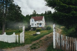 House in the forest. White house in the morning fog. Old mystical house in the fog between the trees.