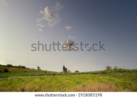House in the middle of the farm with sky blue and big cloud Foto stock ©