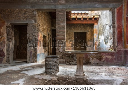 House in the Ruins of Ancient Pompeii Italy