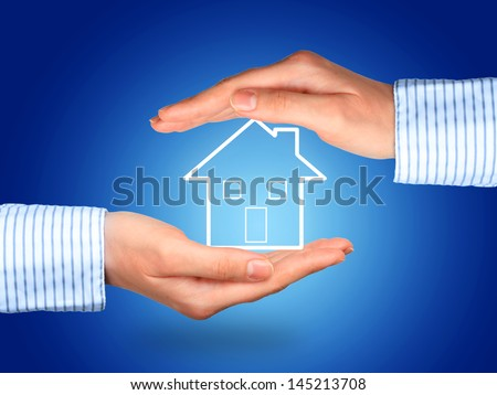 House insurance concept over blue background.
