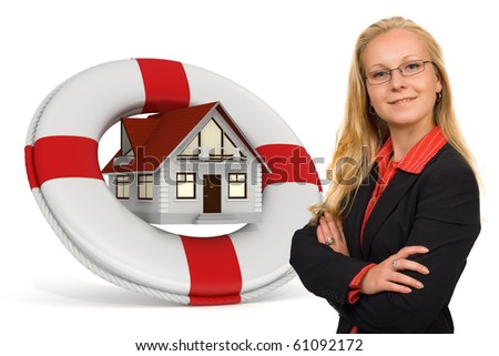 House insurance services icon with a blond business woman - Isolated and 3d render