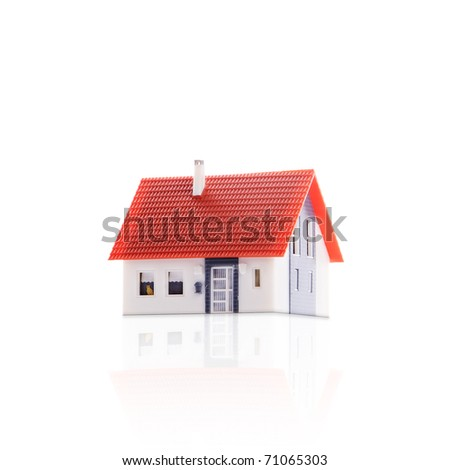 house isolated on a white background with reflection