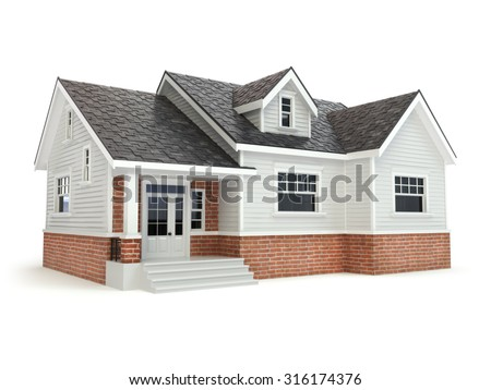 House isolated on white. Real estate concept. 3d
