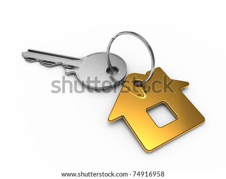 House key isolated on white background