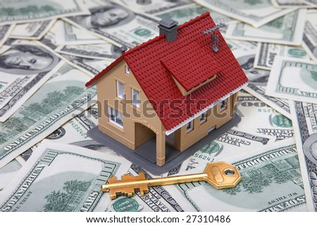 House & key on Money. See Portfolio For Similar Images