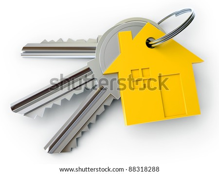 house key with charm, on a white background, 3d render