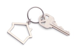 House Key With House Keychain Isolated on a White Background.