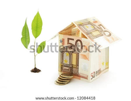 House made of bills with a ladder and a tree