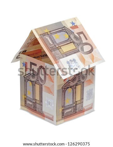 house made of euro money bills isolated on white background