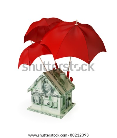House made of money under three red umbrellas. 3d rendered. Isolated on white.