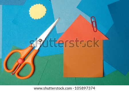 House made of note paper - stock photo