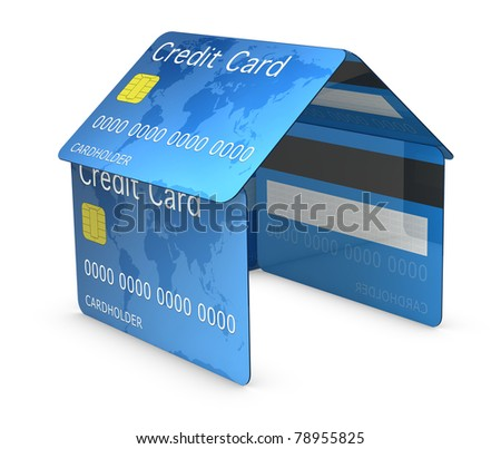 house made with credit cards (3d render)