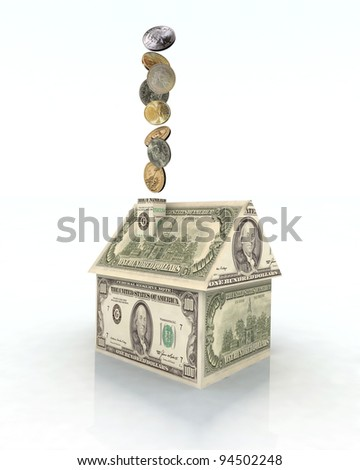 house made with dollar money, 3d illustration
