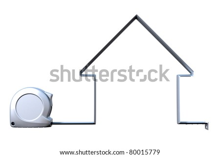 house measuring tape silver - stock photo