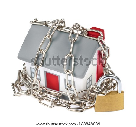 House model plastic with chain and padlock for security concept