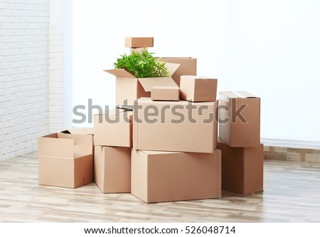 House moving concept. Boxes in empty room