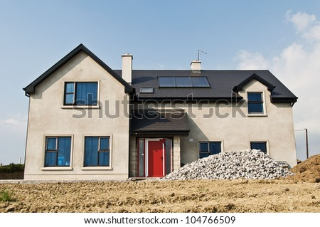 house new build with solar green energy efficiency