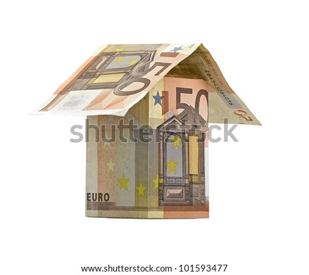 house of banknotes isolated on white (clipping path)
