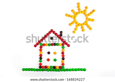 House of candy and the sun on a white background