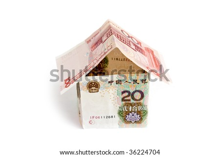 House of Chinese banknotes isolated