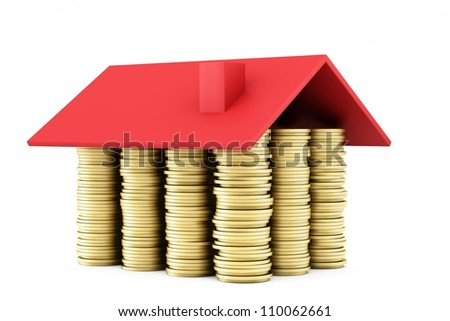 House of coins on white background with red roof
